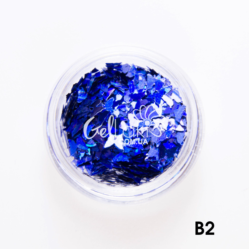 "Камифубики для дизайна ногтей ""Бабочки"" (синий), B2"