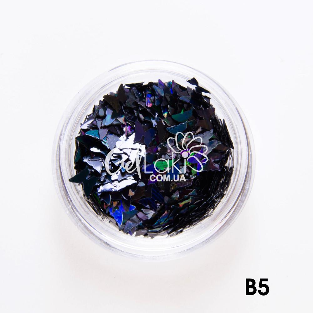"""Камифубики для дизайна ногтей """"Бабочки"""" (черный), B5"""