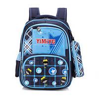 Школьный рюкзак для мальчика с пеналом тёмно-синий
