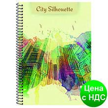 """Блокнот """"City Silhouette"""" А5, боковая спираль, 48 листов, клетка E20300"""