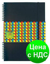 Блокнот А4, пластиковая облож., 100 листов, боковая спираль,на резинке,клет. E20323