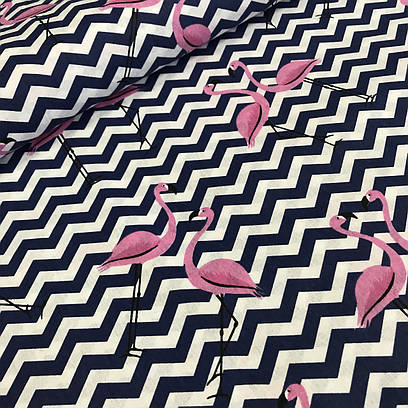 100% хлопковая ткань, фламинго на синем зигзаге