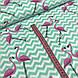 Ткань польская хлопковая, фламинго на мятном зигзаге, фото 2