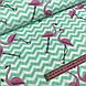 Ткань польская хлопковая, фламинго на мятном зигзаге, фото 3