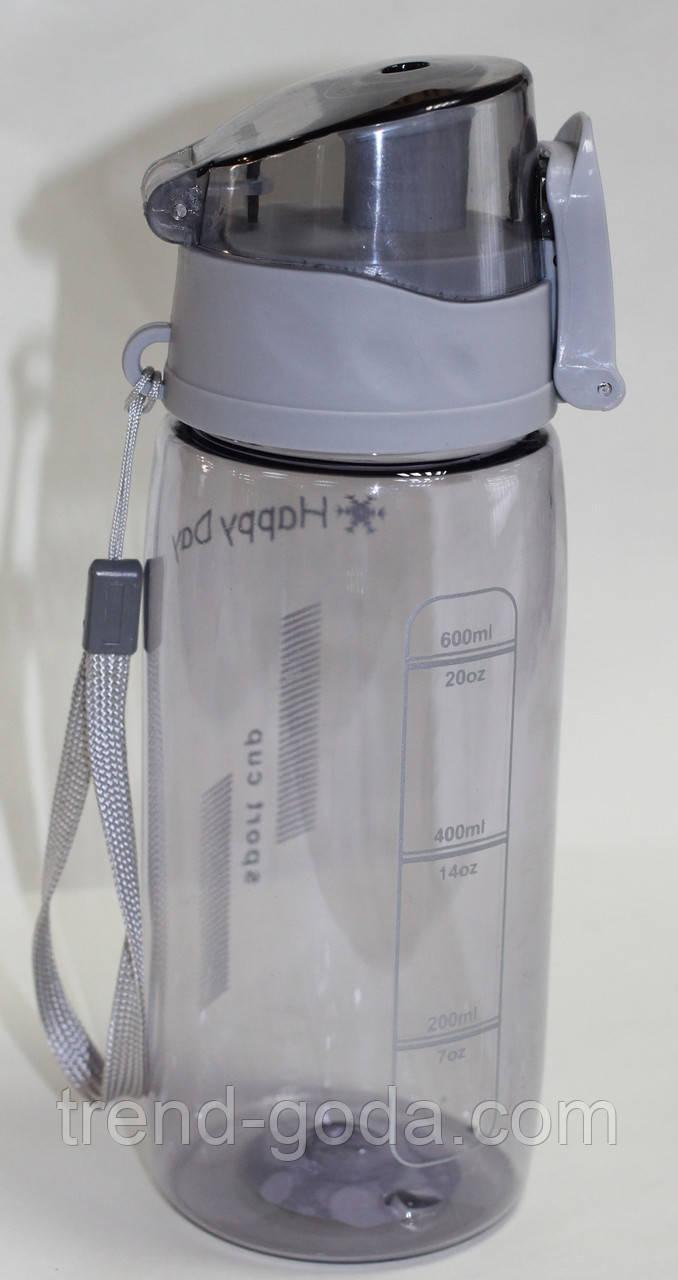 Спортивная термо-бутылка Happy Day, прозрачная, серая крышка, 600 мл