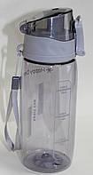 Спортивная термо-бутылка Happy Day, прозрачная, серая крышка, 600 мл, фото 1