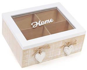 Коробка-шкатулка Home для чая и сахара 4-х секционная 20x18x8см