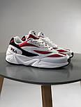 Мужские кроссовки Fila Venom white/red. Натуральная кожа. Живое фото (Реплика ААА+), фото 3