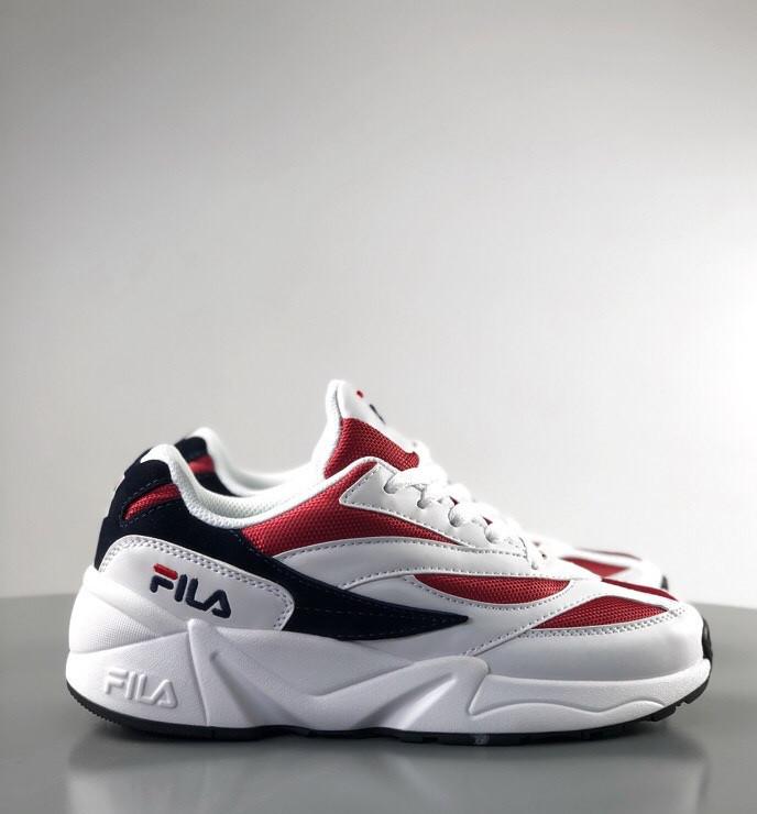 Мужские кроссовки Fila Venom white/red. Натуральная кожа. Живое фото (Реплика ААА+)