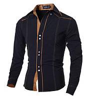 Рубашка мужская черная классика с длинными рукавами 1007