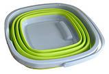 Складное силиконовое ведро 5 л. для дома, дачи и выездов на природу, квадратное или круглое, фото 5