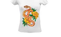 Футболка с цветочным принтом, летним принтом, рисунком, цветком Змея и желтые пионы, тропики, фото 1