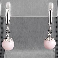 Опал розовый, Ø8 мм., серебро, серьги, 340СРО