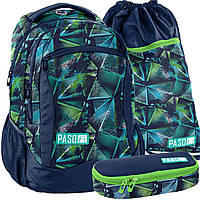 Школьный рюкзак молодежный PASO UNIQUE, комплект 3 шт, фото 1