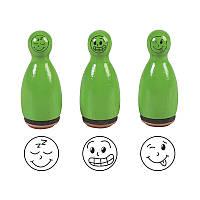 Набор штампов резиновых «Зеленые смайлики» 3шт, 204888635