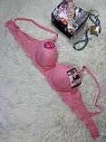 Лифчик 2 w 3 чашка B размер 95-80 брендовый с гипюром бордовый-пуш ап-серый, фото 4