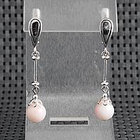 Опал розовый, Ø8 мм., серебро, серьги, 341СРО