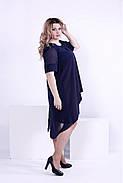 Женское легкое платье со шлейфом 0860 / размер 42-74 / большие размеры цвет синий, фото 2