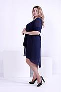 Женское легкое платье со шлейфом 0860 / размер 42-74 / большие размеры цвет синий, фото 3