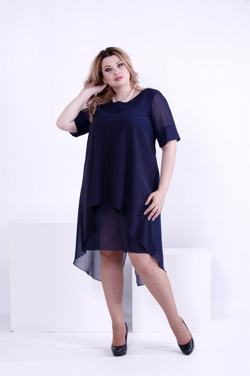 Женское легкое платье со шлейфом 0860 / размер 42-74 / большие размеры цвет синий