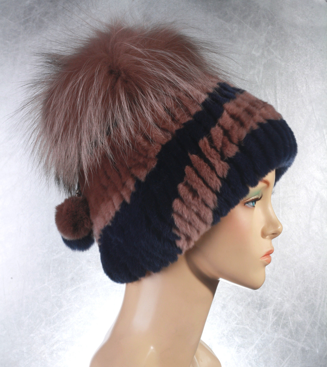 Жіноча хутрова шапка Ліхтарик мілітарі з рекса