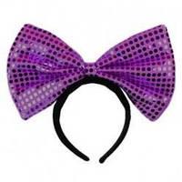 Ободок бантик блестящий фиолетовый