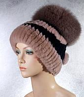 Женская меховая шапка Фонарик милитари из рекса