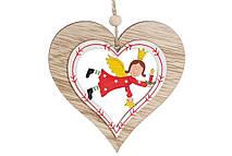 Новогоднее украшение-подвеска 10см Сердце с ангелом