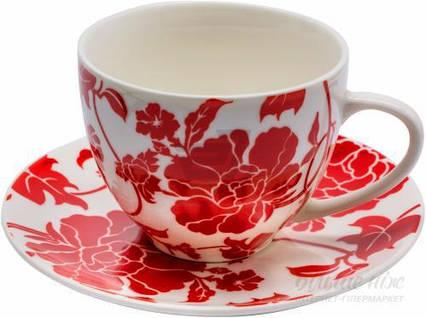 Чашка с блюдцем Red flower 300 мл