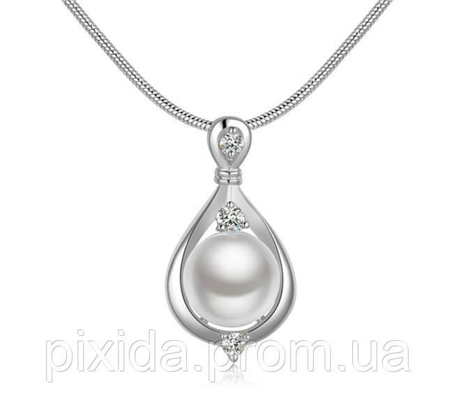 Подвеска жемчужинка покрытие 925 серебро