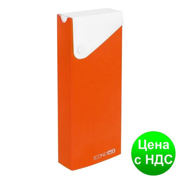 Пенал пластиковый на кнопке А6,оранжевый E31617-06