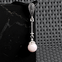 Опал розовый, Ø8 мм., серебро, кулон, 837КЛО