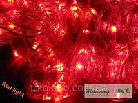 Электрогирлянда LED красная новогодняя 200 лампочек - 16 метров