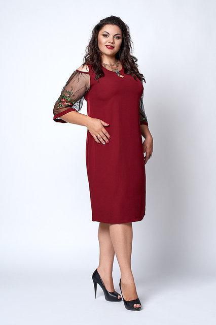 Нарядное женское гипюровое платье с оригинальными рукавами,54,56,58