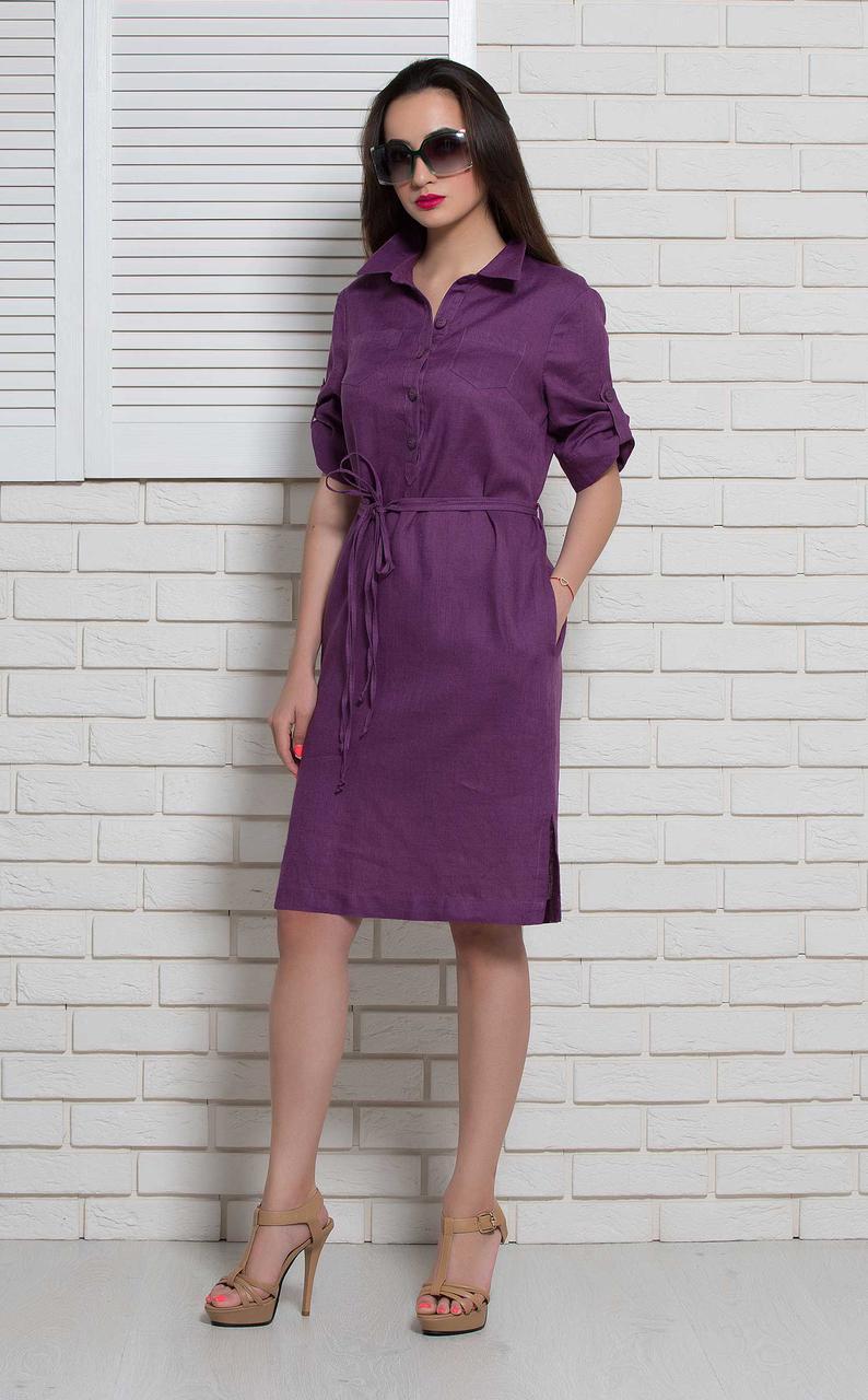 Жіноче плаття літнє фіолетове з льону BerdToni MKBT9791