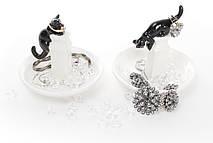 Подставка для украшений Черный кот, 2 вида, 12см, цвет - черный с белым