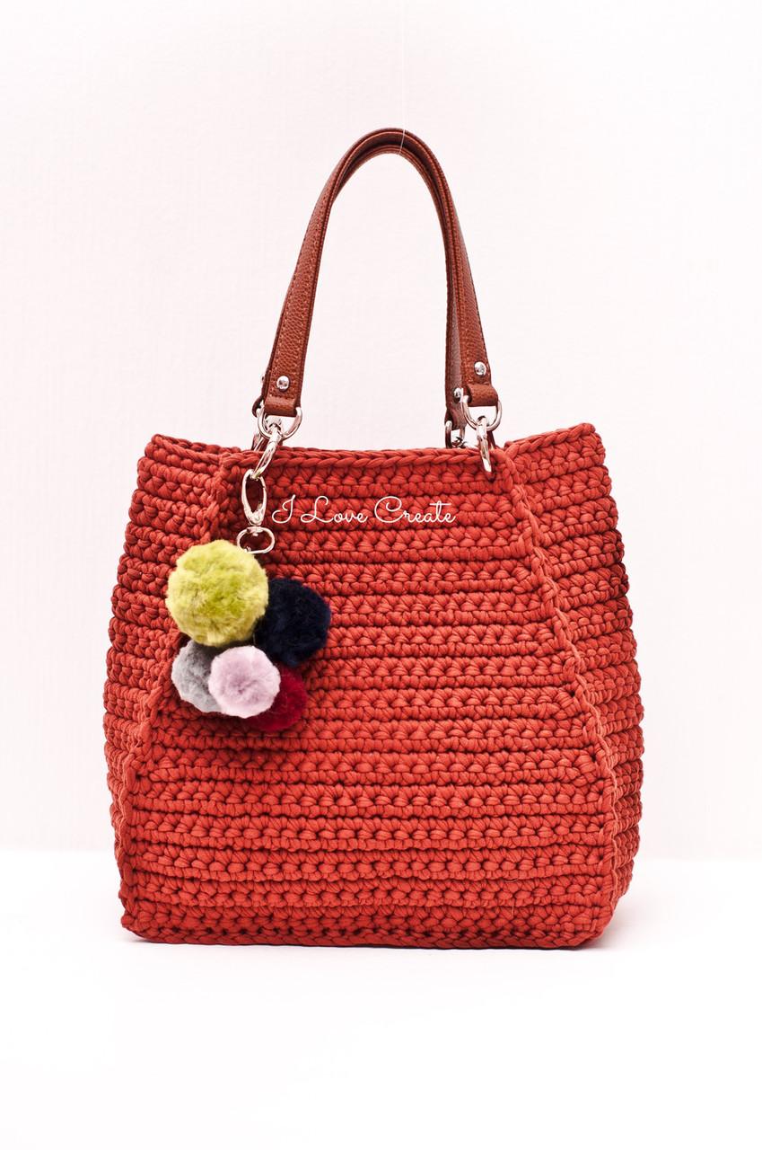 a67794a092e7 Вязаная сумка Ameli из трикотажной пряжи c ручками из эко-кожи, цена ...