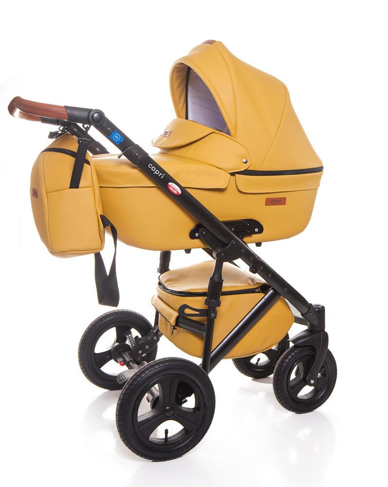 Детская коляска 2 в 1 Broco Capri эко кожа Жёлтый
