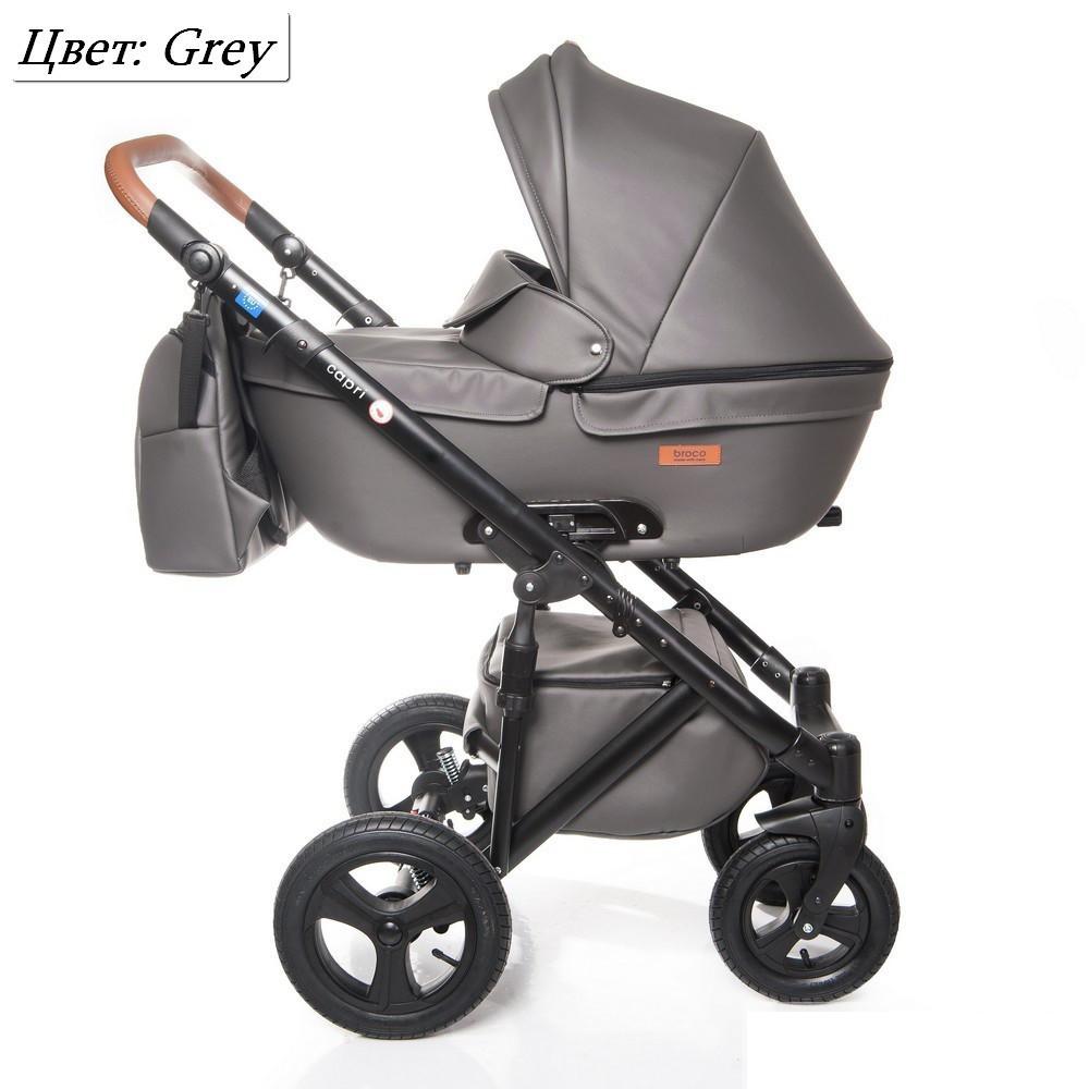 Детская коляска 2 в 1 Broco Capri эко кожа Серый