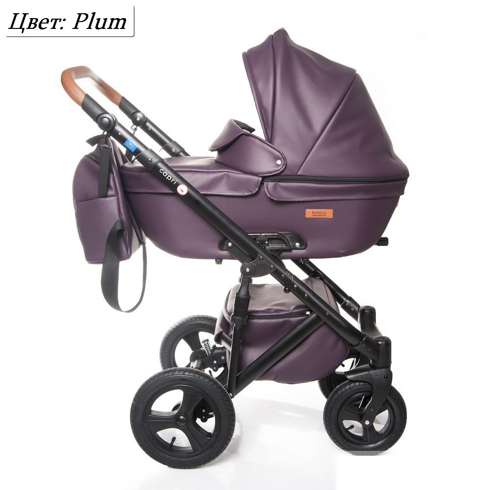 Детская коляска 2 в 1 Broco Capri эко кожа Фиолетовый