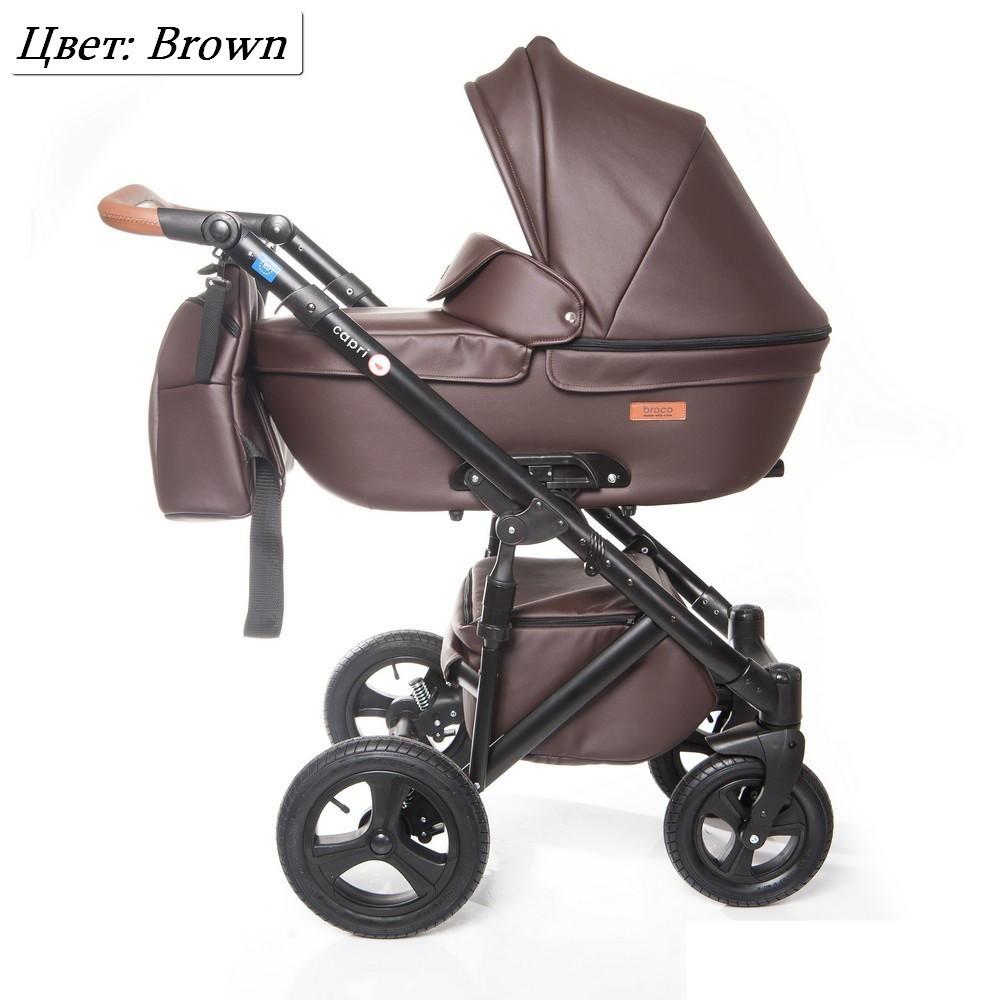 Детская коляска 2 в 1 Broco Capri эко кожа Коричневый