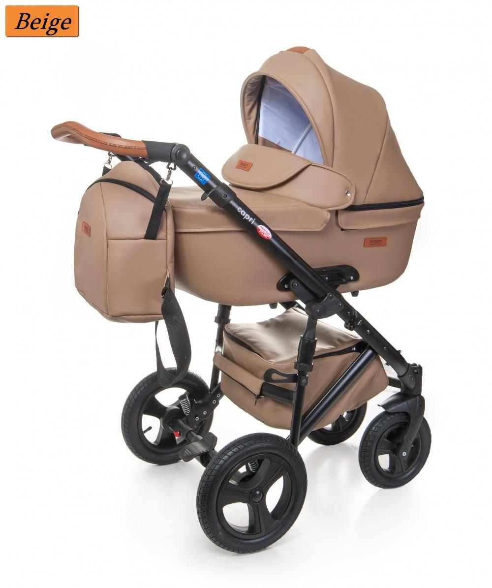 Детская коляска 2 в 1 Broco Capri эко кожа Бежевый