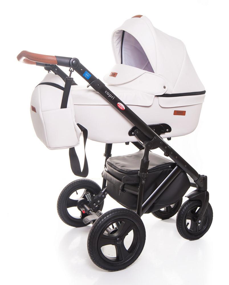 Детская коляска 2 в 1 Broco Capri эко кожа Белый