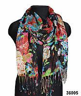 Черный льняной шарф, фото 1