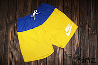 Пляжные мужские шорты, чоловічі шорти Nike (желтый+синий), Реплика