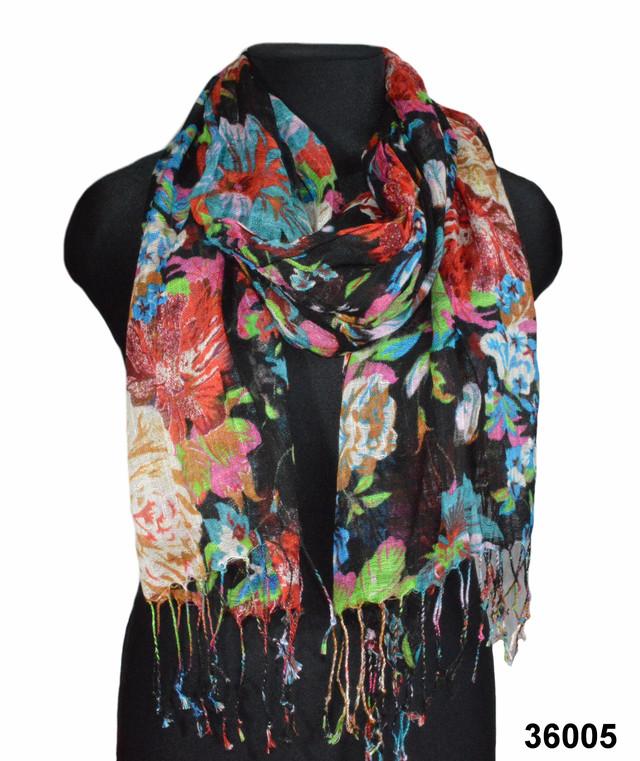 Черный льняной шарф с цветочным орнаментом фото 1
