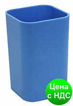 Подставка для ручек стакан канцелярский квадратний Economix, пластик, голубой E81673