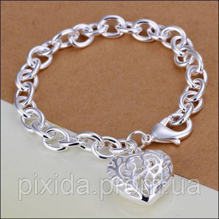 Браслет сердечко на цепочке покрытие 925 серебро проба