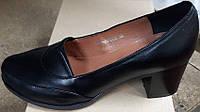 Туфли женские на удобном каблуке из натуральной кожи чёрного цвета от производителя модель СД-Т1