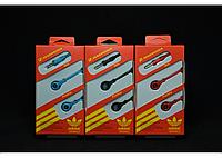 Наушники вакуумные Adidas AS-11 Голубые, плоский шнур, наушники-вкладыши Adidas